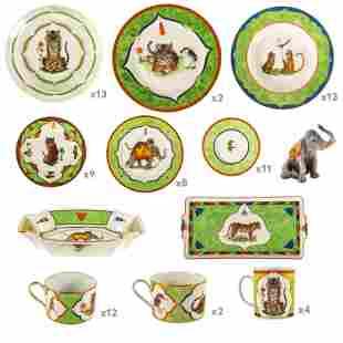 Lynn Chase Tiger Raj 78PC China Dinner Service SET
