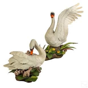 Boehm Mute Swan Porcelain Figural Group Sculpture