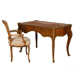 "Louis XV Bronze Mounted 49"" Mahogany Leather Desk"