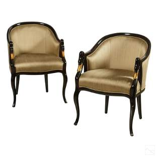 Empire Style Marbleized Swan Head Arm Chairs PAIR