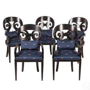 Set of 5 Dark Lacquered Upholstered Dining Chairs