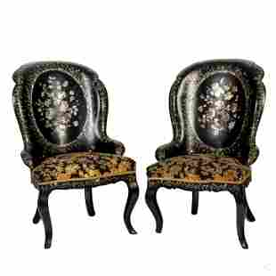 Victorian Papier Mache Mother Pearl Parlor Chairs