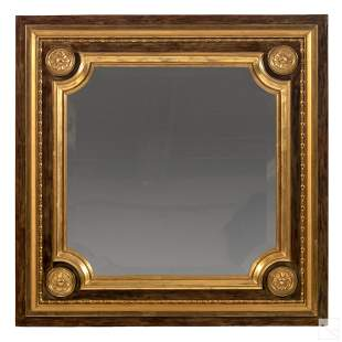 Fine Gilt & Lacquered Wood Square Hanging Mirror
