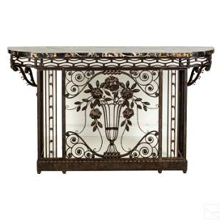 French Art Deco Wrought Iron Marble Console Table