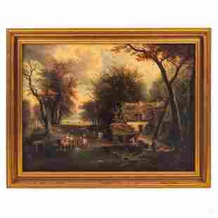 European Figural and Landscape Panel Oil Painting