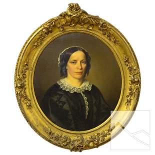 European Fine Antique Lady's Portrait Oil Painting