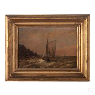 European Antique Seascape & Sailboat Oil Painting