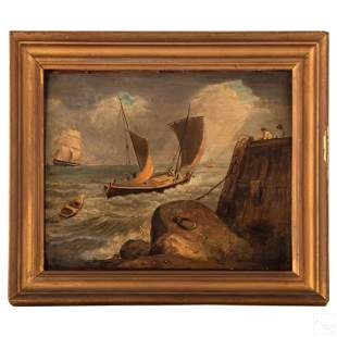 George Morland Seascape & Sailboat Oil Painting