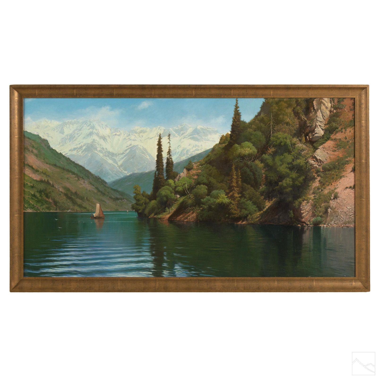 Mountain Lake & Boat Signed Landscape Oil Painting
