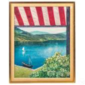 Sailboard and Sailboat Lake Landscape Oil Painting