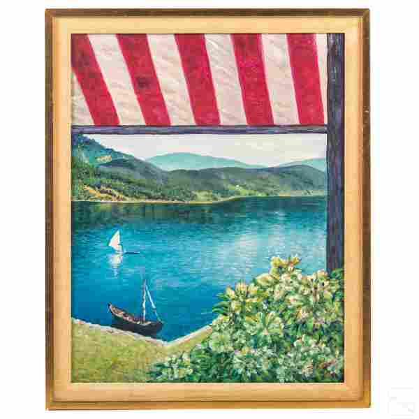 Sailboard and Sailboat Lake Landscape Oil Painting