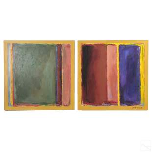 Robert Becker 20thC Diptych Abstract Oil Paintings