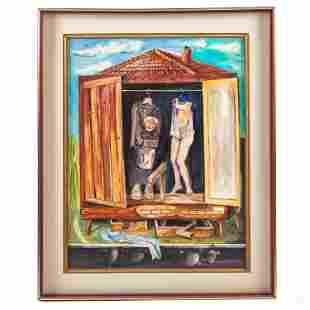 P. Fien Mid Century Modern Surrealism Oil Painting