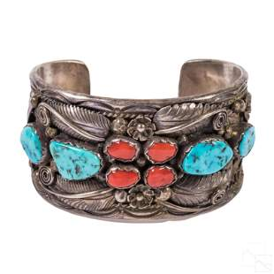 Native American Indian Sterling Turquoise Cuff