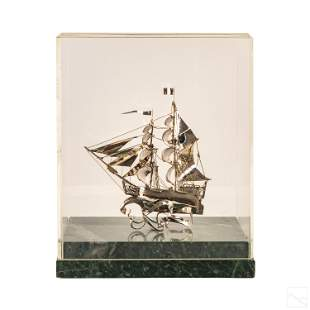 Sterling Silver Sailing Ship Sculpture and Base