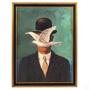 Man In Bowler Hat Oil Painting after Rene Magritte