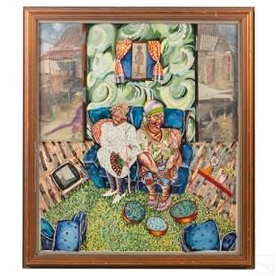 Su Ecenia Abstract Folk Art Acrylic Oil Painting