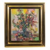 Mid Century Modern Floral Vase Still Life Painting