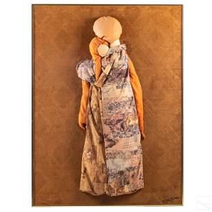 Mid Century Modern 3D Fabric and Masonite Artwork