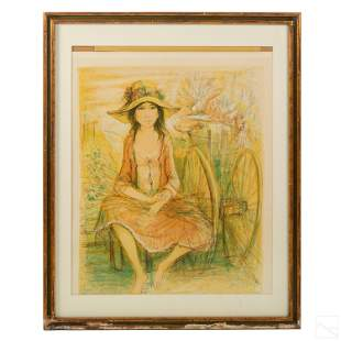 Jacques Lalande Portrait of Girl Lithograph Print