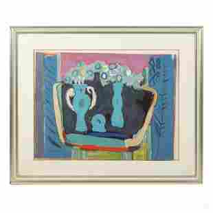 Mystery Modern Abstract Still Life Lithograph