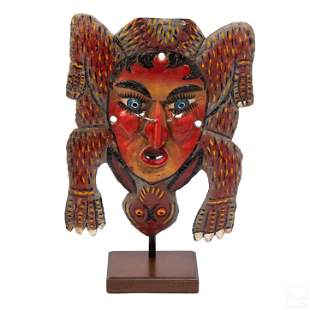 "Mexican Folk Art 15"" Reptile and Man Festival Mask"