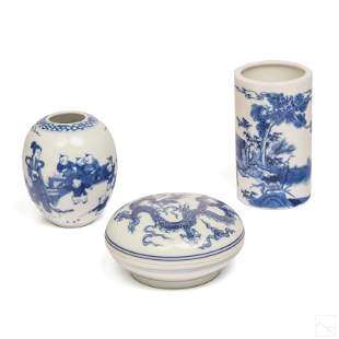 Chinese Blue White Ceramic Mini Vases & Box LOT