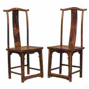 Chinese Design 19th Century Solid Wood Chair PAIR