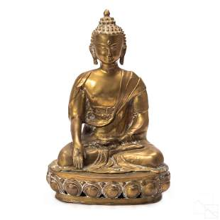 Chinese 20th C. Cast Brass Seated Buddha Sculpture