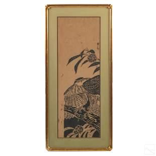 Japanese Meiji Period Framed Hawk Woodblock Print