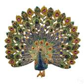 Jay Strongwater Large LE Peacock Figurine Statue