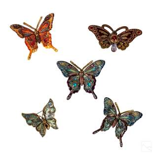 Jay Strongwater Butterfly Pins, Figurines, Box LOT