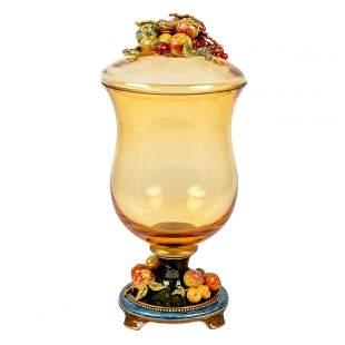 Jay Strongwater SIGNED Tuscany Lidded Glass Jar