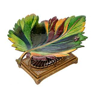 Jay Strongwater Enamel Leaf Fly Compote Plate Tray