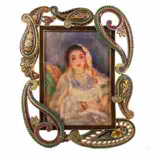 Jay Strongwater Paisley Puteh Floral Picture Frame