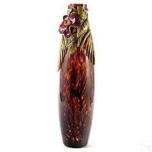 Jay Strongwater Large Orchid Floral Vase Sculpture