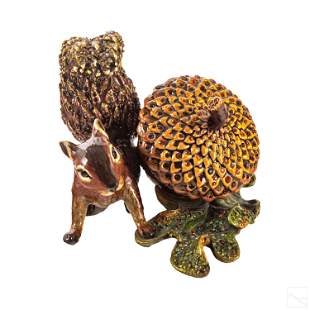 Jay Strongwater SIGNED Squirrel with Acorn Clock