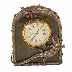 Jay Strongwater Salamander & Butterfly Desk Clock