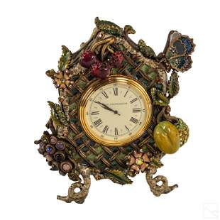 Jay Strongwater Butterflies and Flora Mantel Clock