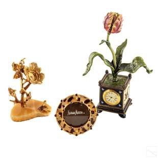 Jay Strongwater SIGNED Tulip Clock & Other Objects