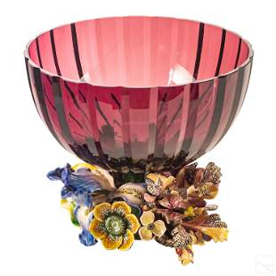 Jay Strongwater SIGNED Gabriela Floral Glass Bowl