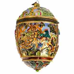Jay Strongwater Jungle Egg Lidded Holiday Ornament
