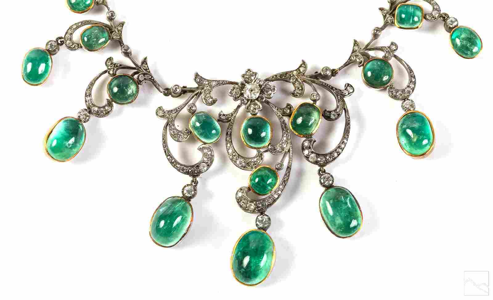 Victorian 100 Carat Emerald Diamond Necklace Tiara