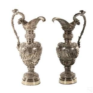 Tiffany Pair Neoclassical Silverplate Ewer Vessels