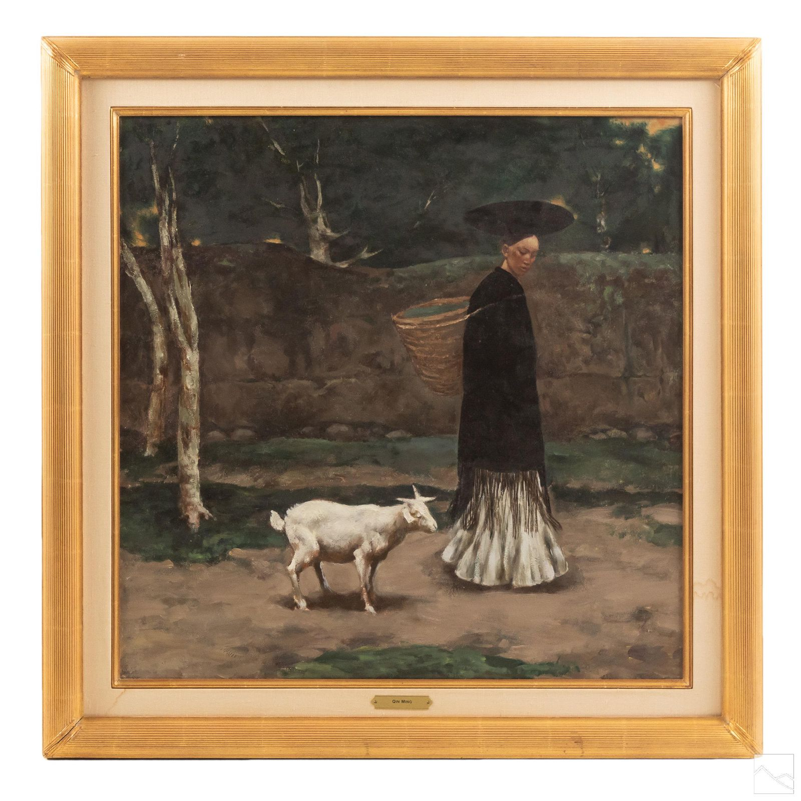 Chinese Qin Ming 20th C Oil Painting Wally Findlay