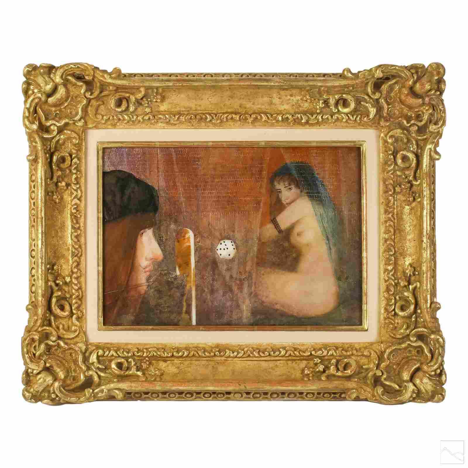 Signed Mystery Artist Surrealist Nude Oil Painting