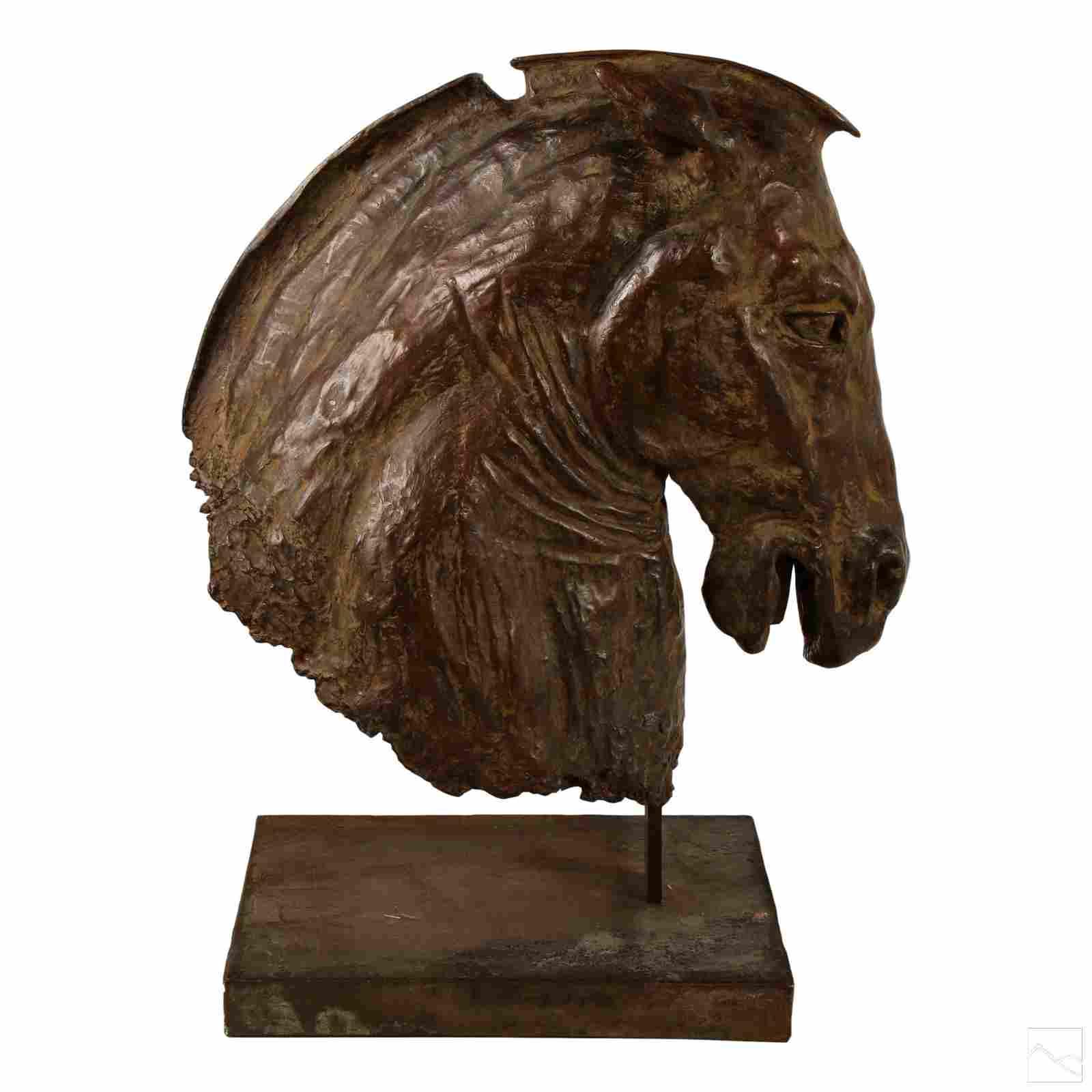 Lina Binkele b.1957 Bronze Neoclassical Horse Bust