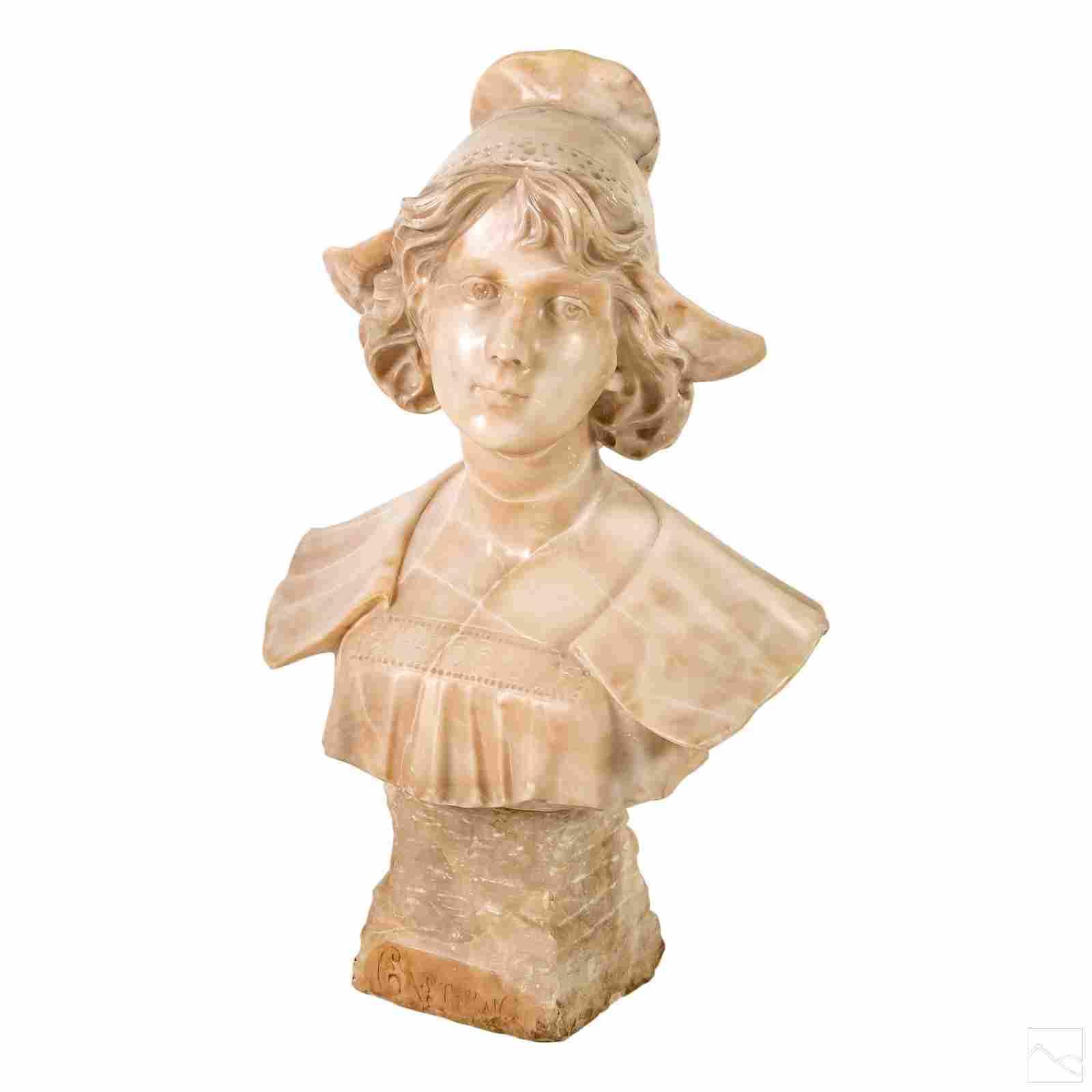 Art Nouveau Carved Alabaster Lady Bust Sculpture