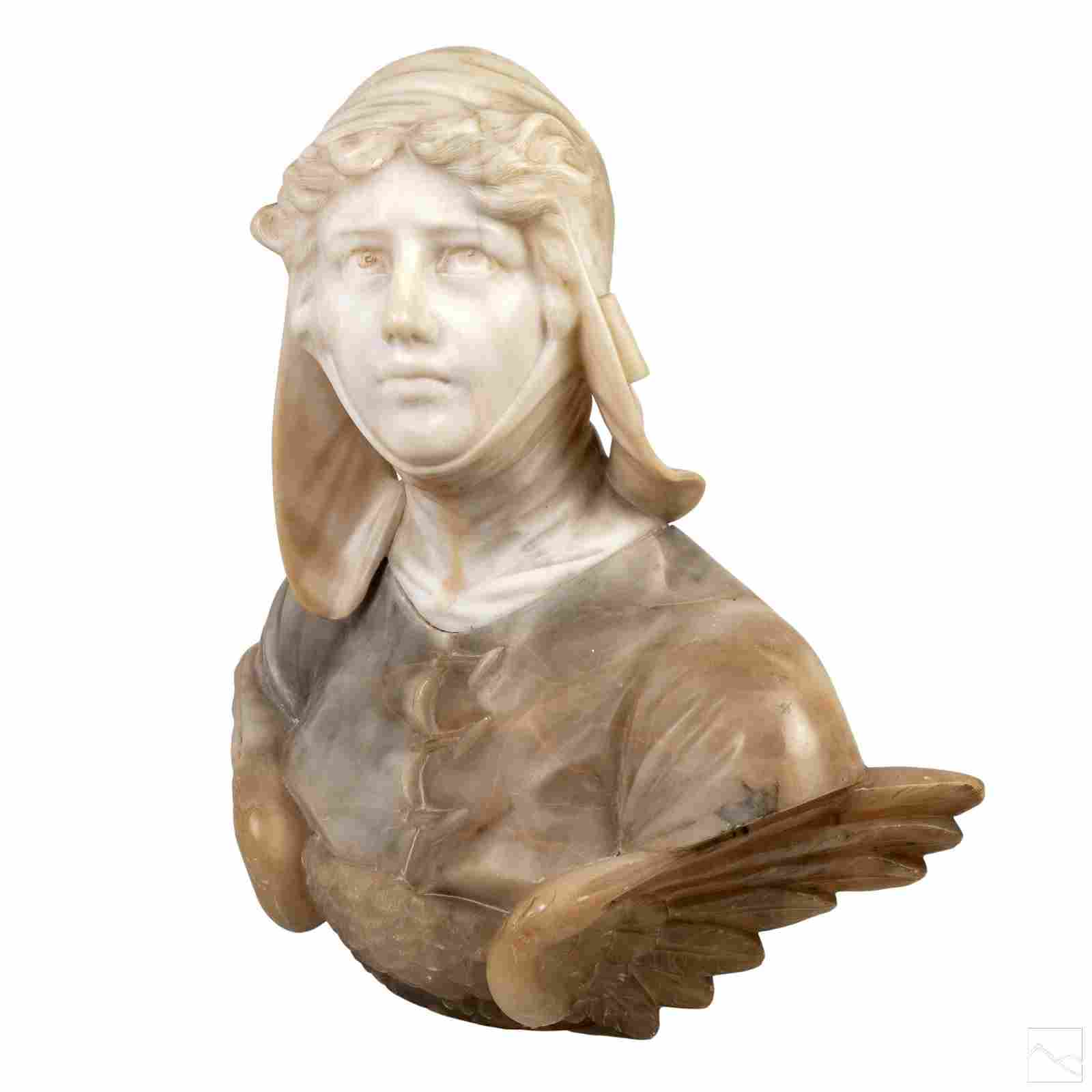 Italian Alabaster Antique Bust of Angel Sculpture