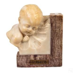 Brogi Italian Alabaster Sleeping Baby Sculpture